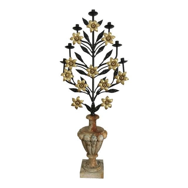 Antique Italian Floral Candelabra Displayed on a Concrete Urn For Sale