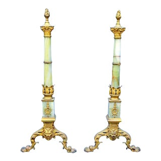 Late 19th Century French Onxy and Bronze Gilt Andirons Chenets - a Pair For Sale
