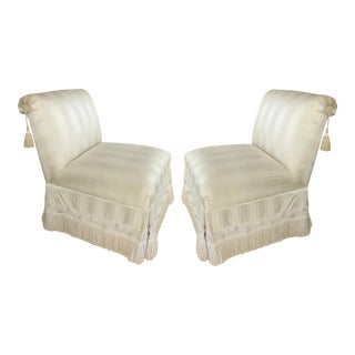 Custom Upholstered Slipper Chairs W/ Trim & Tassels-A Pair For Sale