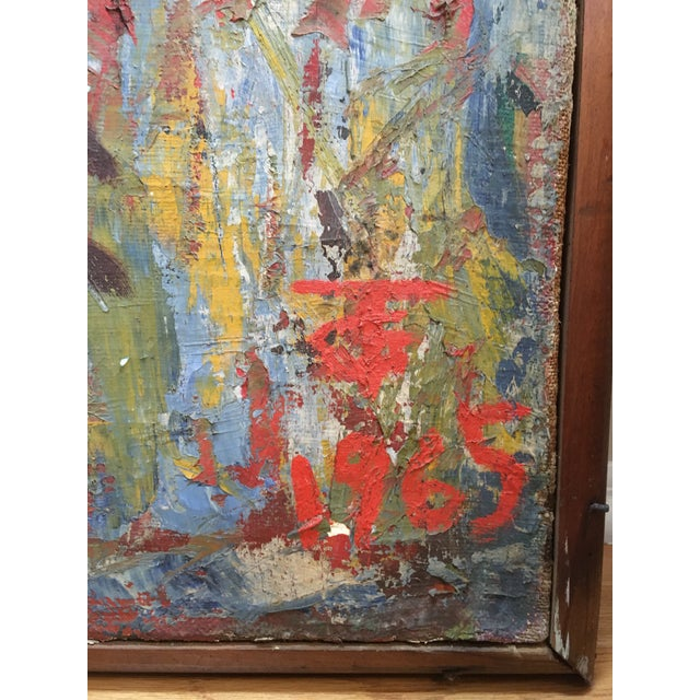 "Huge Vintage Mid Century Russian Art Deco Cubist Abstract Oil Painting 1965 50"" X 36"" For Sale - Image 9 of 13"