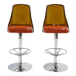 Vintage Acrylic Chrome, & Orange Vinyl Barstools - a Pair For Sale