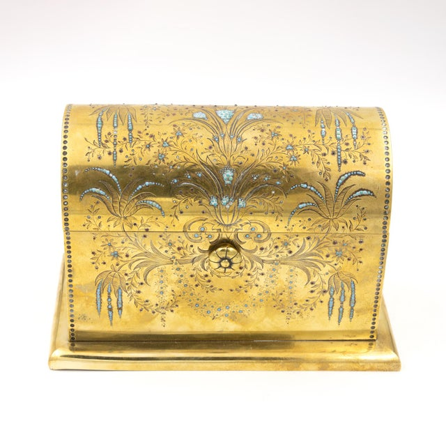 Rare Solid Brass Stationery Box Inlaid With Turquoise and Garnets, France, Circa 1860. For Sale - Image 4 of 11