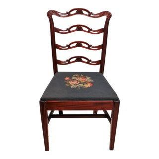 Floral Needlepoint Seat Mahogany Ribbon Back Chair For Sale