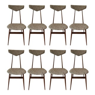 Modern Tweed Upholstered Dining Chairs - Set of 8 For Sale