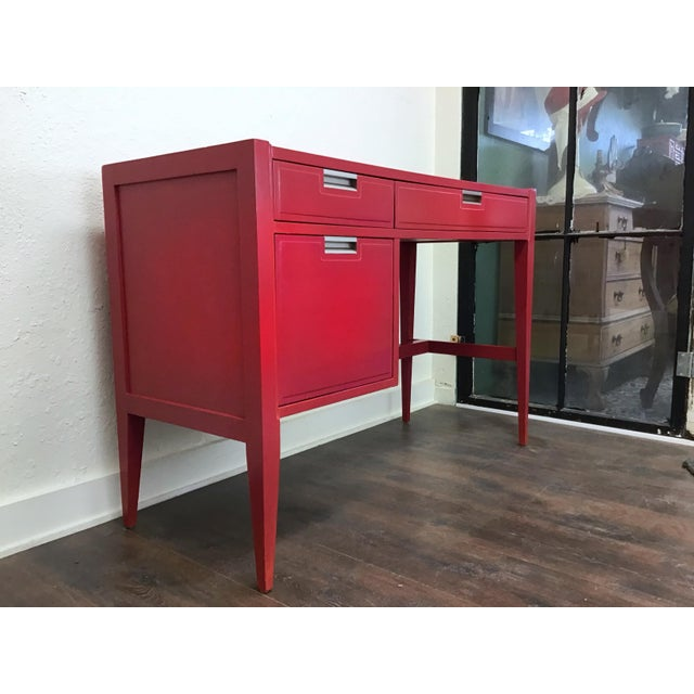 Mid century modern writing desk by Basic Witz. Functional and beautiful with a hot coral pink color. Original brushed...