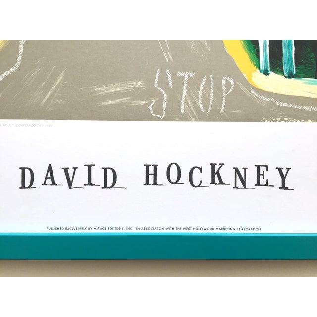 """Blue David Hockney Rare Vintage 1989 Lithograph Print Framed Collector's Pop Art Poster """" Hancock St. West Hollywood 1 """" For Sale - Image 8 of 13"""