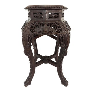 Antique 'Qing' Dynasty Chinese Four Dragons & Lucky Coin Rosewood Pedestal, Stool or Display Stand With Pink Marble Top For Sale