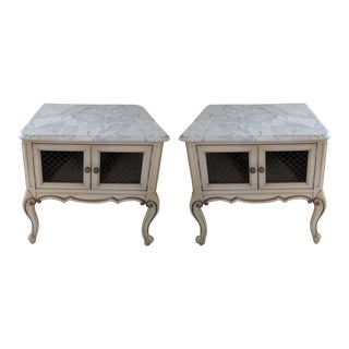 1960's French Provincial Louis XV Marble Top Side Tables - a Pair For Sale