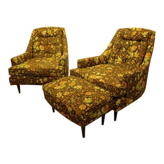 Mid-Century Danish Modern 3-Piece Groovy Lounge Chair & Ottoman Set