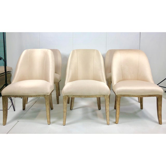 Contemporary Champagne Cream Upholstered Dining Chairs - Set of 3 For Sale - Image 10 of 10