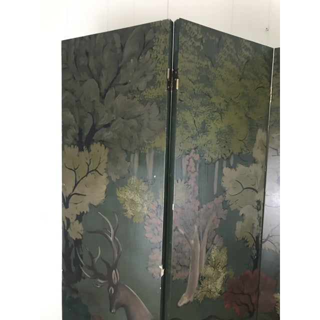 Brass Painted Four Panel Screen With Landscape and Deer For Sale - Image 7 of 13