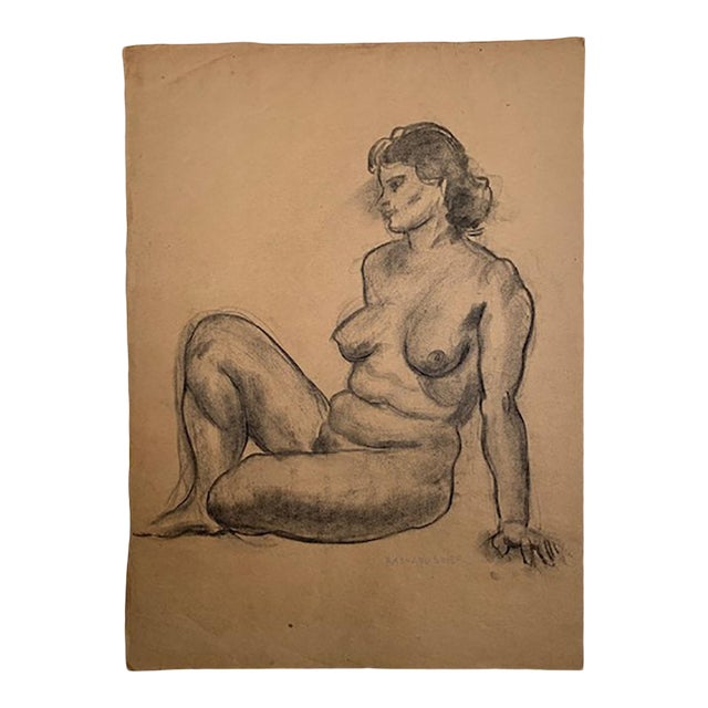 1935 Vintage Raphael Soyer Nude Drawing For Sale