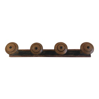 Antique Vintage French Wall Mounted Wood Coat Rack For Sale