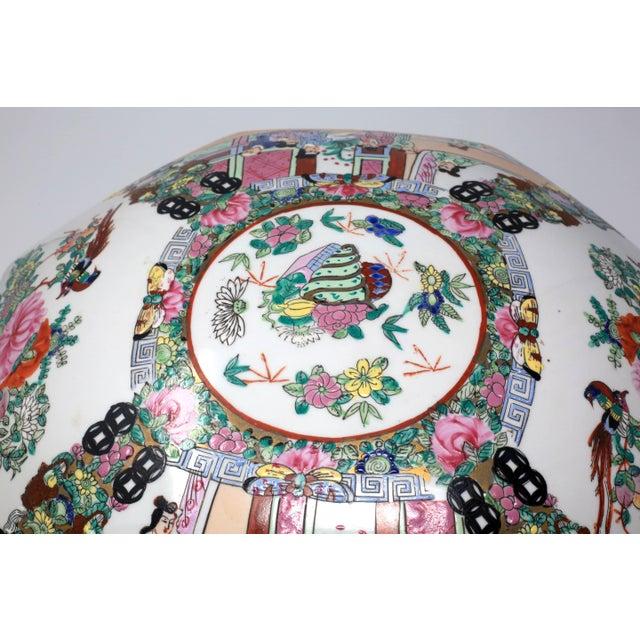 Blue Vintage Asian Famille Rose Medallion Octagonal Treasure Bowl For Sale - Image 8 of 12