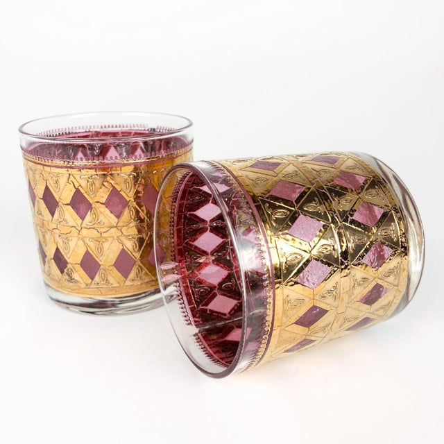 Glass Vintage Pink/Purple and Gold Cocktail Glasses - Set of 6 For Sale - Image 7 of 8