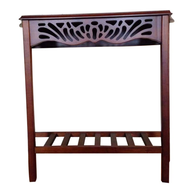 Contemporary Open Carved Mahogany Console Table - Image 1 of 5