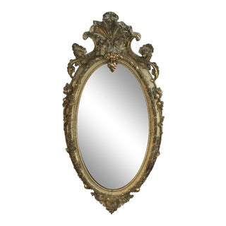 Victorian Distressed Oval Mirror For Sale