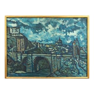 'The Bridge at St. Ursanne, Switzerland' by Jean Krille, Ecole Des Beaux-Arts Paris, Zurich For Sale