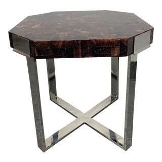 Palacek Shell + Chrome Side Table For Sale