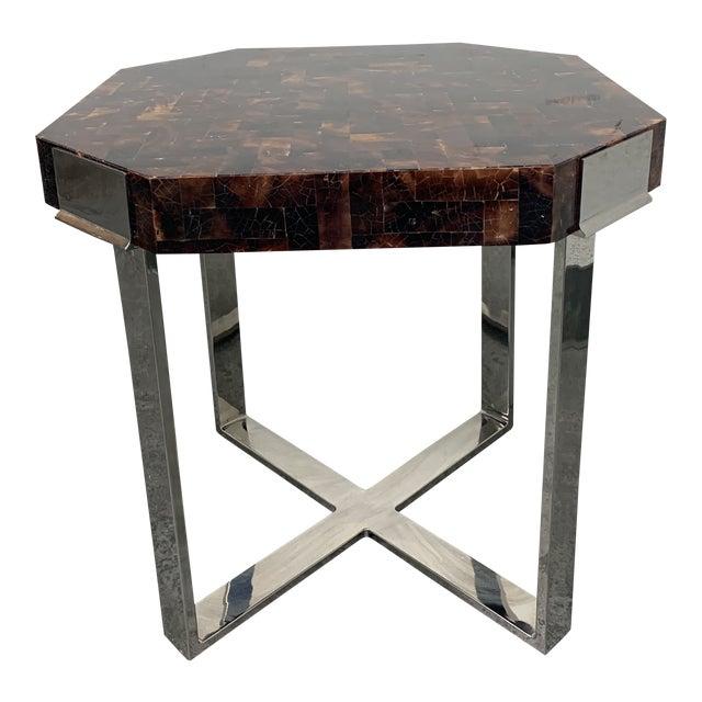 Palacek Shell + Chrome Side Table For Sale