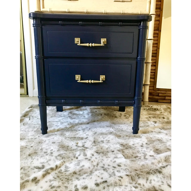 Mid 20th Century Vintage Mid-Century Henry Link Style Navy Blue Faux Bamboo Nightstand For Sale - Image 5 of 13