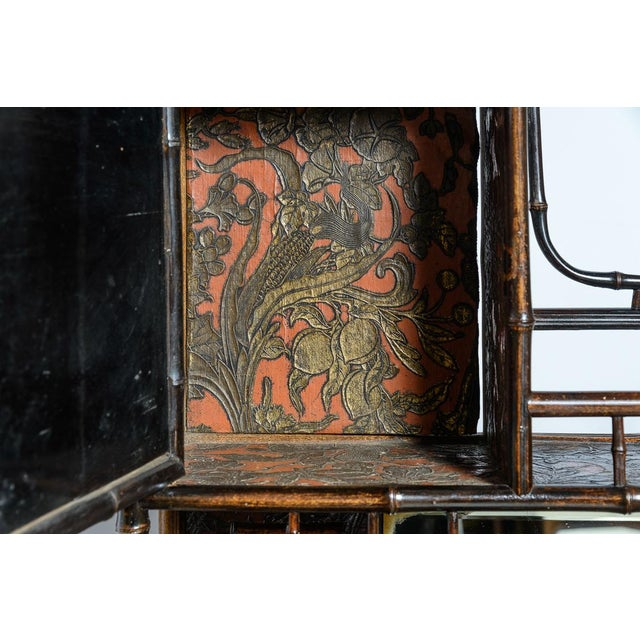 Bamboo Antique English Bamboo and Lacquer Cabinet For Sale - Image 7 of 9