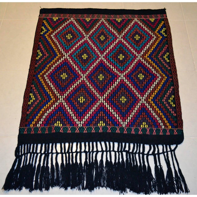 Islamic Turkish Hand Woven Kilim Rug/Braided Wall Hanging - 3′2″ X 3′5″ For Sale - Image 3 of 9
