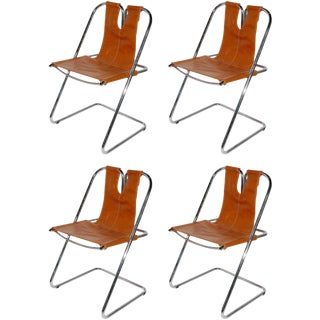 Hand-Stitched Leather and Chrome Chairs-Set of Four For Sale