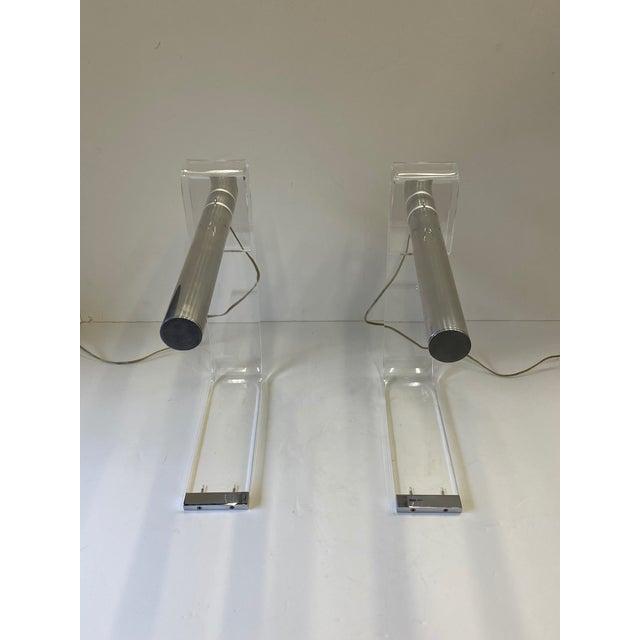 Metal Mid Century Modern Sonneman Lucite & Chrome Desk Lamps -A Pair For Sale - Image 7 of 13