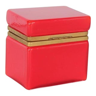 1950's Vintage Red Murano Glass Box For Sale