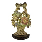 Image of 1930s Hubley Cast Iron Basket with Bow & Flowers Doorstop For Sale