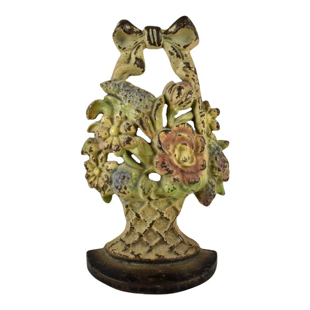 1930s Hubley Cast Iron Basket with Bow & Flowers Doorstop For Sale