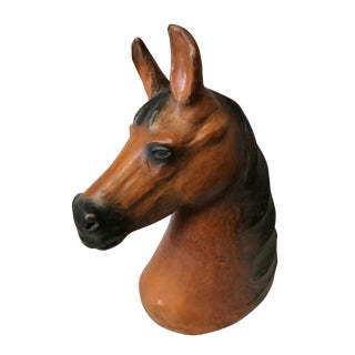 Large Horse Head Leather Covered Paper Mache Scupltural For Sale