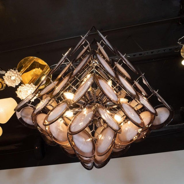 Modernist Pagoda Style Disc Chandelier in Handblown Murano Amethyst Glass For Sale In New York - Image 6 of 7