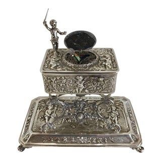 Large Figural Sterling Singing Bird Table Box