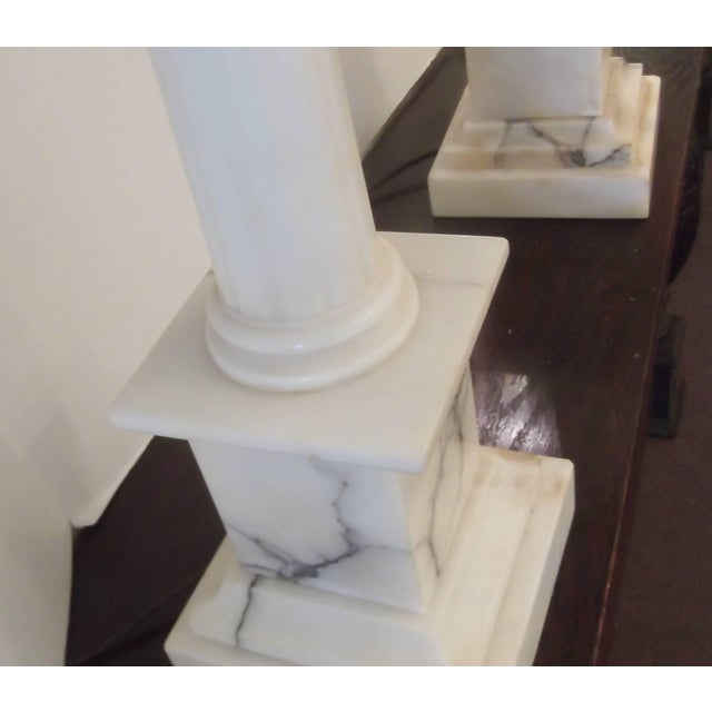 Pair of Neoclassic Carved Marble Column Lamps For Sale - Image 4 of 8