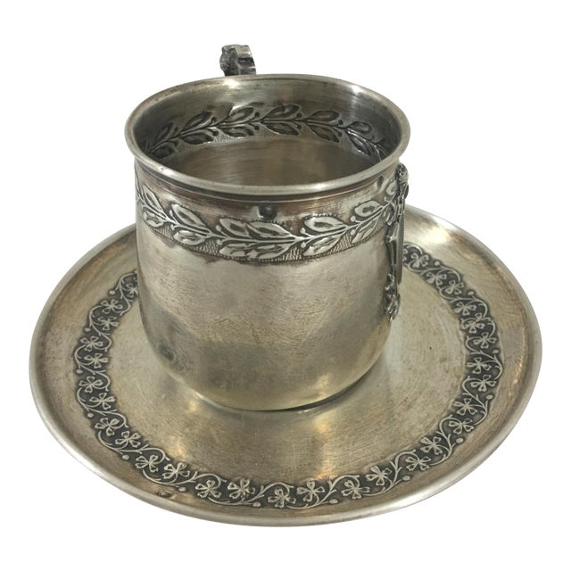 19th Century Sterling Silver Espresso Cup and Saucer For Sale