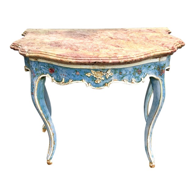 Venetian Painted Marble Top Console Table For Sale