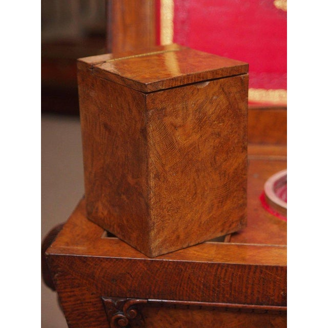 Mid 19th Century Antique English 19th Century Carved Burled Walnut Tea Poy For Sale - Image 5 of 9