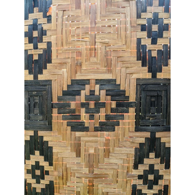 Mid 20th Century Three Panel Handwoven Folding Screen For Sale - Image 4 of 8