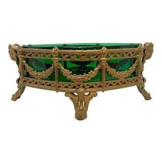 1920's Decorative Metal Bowl with Rams Heads and Floral Green Insert For Sale