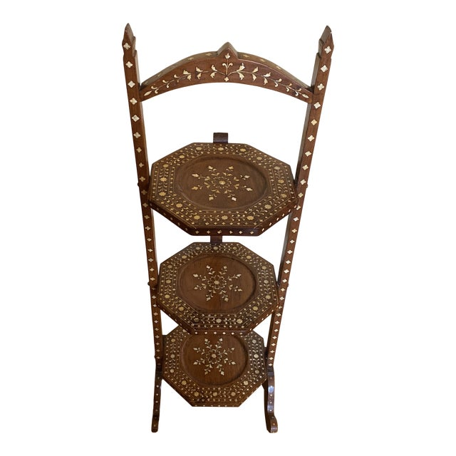 Anglo Indian Bone Inlaid Cake Stand For Sale