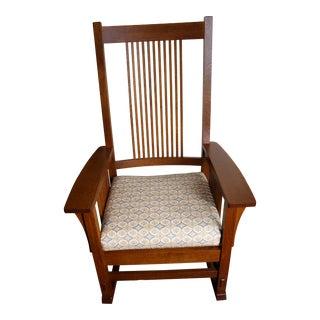 Mission Stickley Brown Oak Rocking Chair