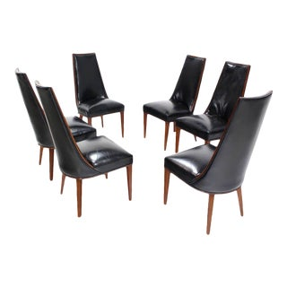 Danish Modern Black Leather Tall Back Dining Chairs - Set of 6 For Sale