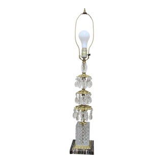 Vintage French Waterfall Three Tier Leaf Crystal Teardrop Table Lamp on Marble Base For Sale
