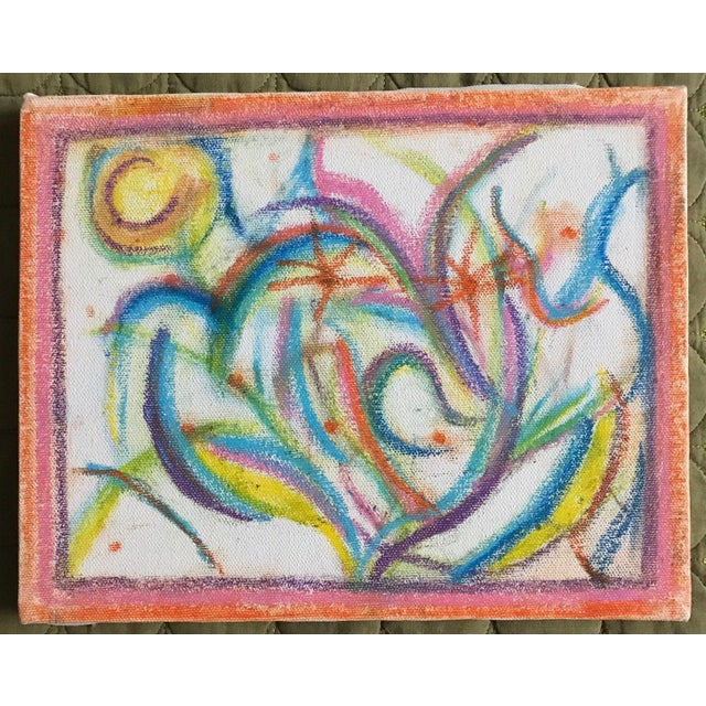 Vintage 1970s Colorful Abstract Drawing For Sale In Saint Louis - Image 6 of 6