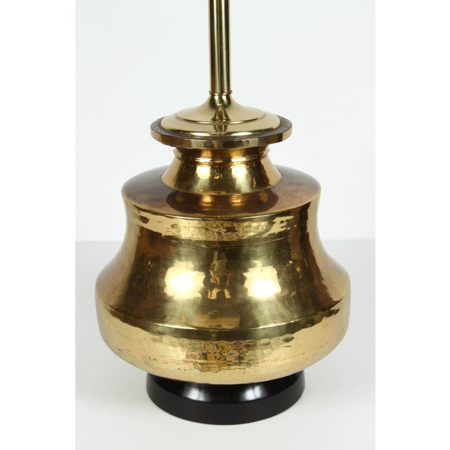 Gold Pair of Polished Moroccan Brass Table Lamps For Sale - Image 8 of 9