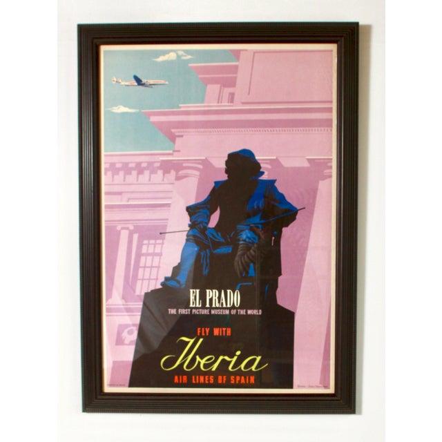 Rare original vintage 1950s Iberia Airlines of Spain El Prado Museum poster, anonymous artist. Professionally framed using...