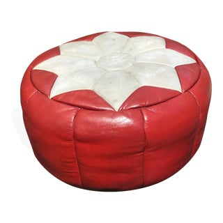 1960s Vintage Greek Leather Pouf / Ottoman For Sale