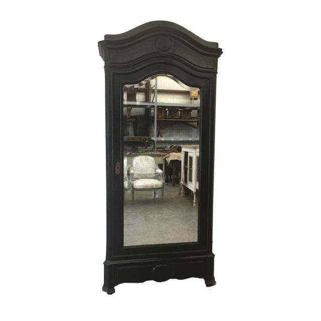 Antique French Ebonized Mirror Armoire - Image 12 of 12